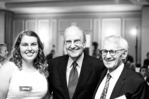 Scholar Chelsea Winiarski with Senator Mitchell and Jeff Tarr